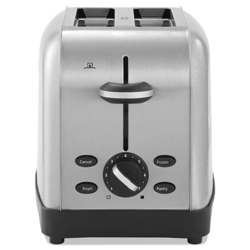 Extra Wide Slot Toaster, 2-Slice, 8 x 12 7/8 x 8 1/2, Stainless Steel | by Plexsupply