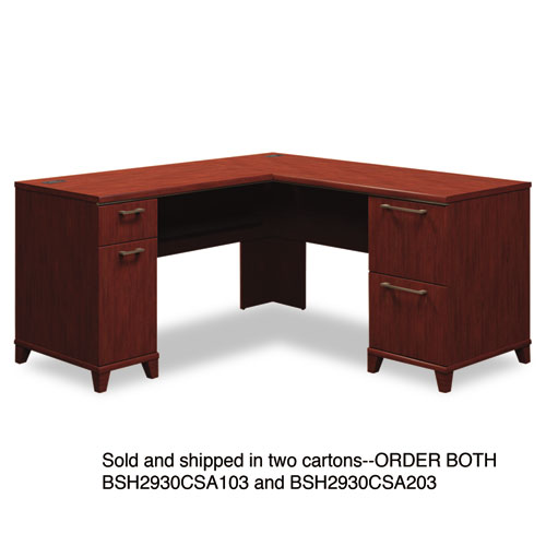 Bush® Enterprise Collection 72w x 72d L-Desk Pedestal Only, Harvest Cherry, Box 1 of 2