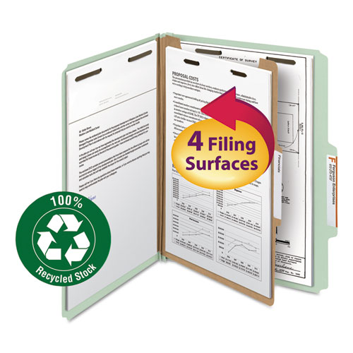 100 Recycled Pressboard Classification Folders, 1 Divider, Letter Size, Gray-Green, 10/Box