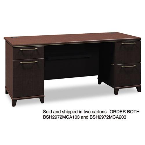 Bush® Enterprise Collection 60W Double Pedestal Desk, Harvest Cherry (Box 1 of 2)