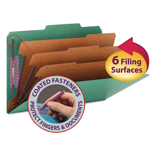 Eight-Section Pressboard Top Tab Classification Folders with SafeSHIELD Fasteners, 3 Dividers, Legal Size, Green, 10/Box | by Plexsupply