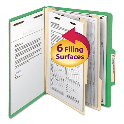 Colored Top Tab Classification Folders, 2 Dividers, Letter Size, Green, 10/Box | by Plexsupply