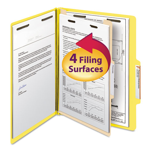 Colored Top Tab Classification Folders, 1 Divider, Letter Size, Yellow, 10/Box