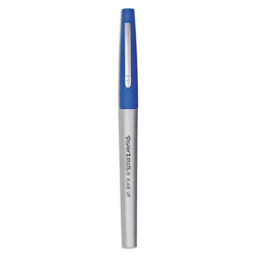 Flair Felt Tip Stick Porous Point Marker Pen, 0.4mm, Blue Ink/Barrel, Dozen | by Plexsupply