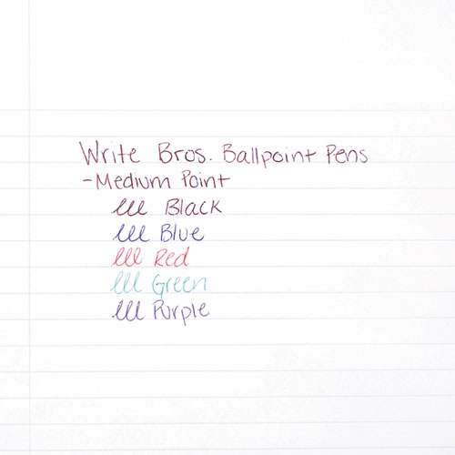 Write Bros. Stick Ballpoint Pen, Medium 1mm, Black Ink/Barrel, Dozen