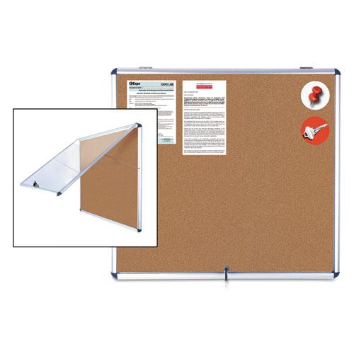 Slim-Line Enclosed Cork Bulletin Board, 47 x 38, Aluminum Case   by Plexsupply