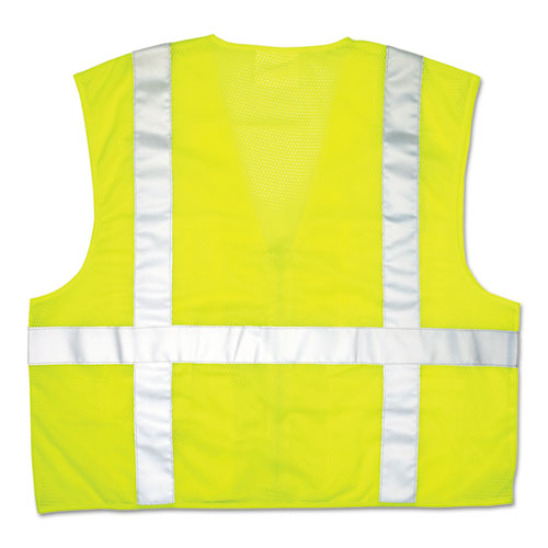 Luminator Safety Vest, Lime Green w/Stripe, Medium | by Plexsupply