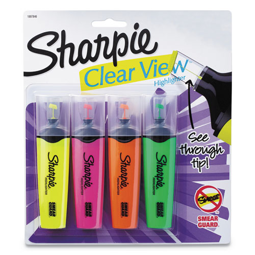 Clearview Tank-Style Highlighter, Blade Chisel Tip, Assorted Colors, 4/Set | by Plexsupply
