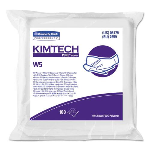W5 Critical Task Wipers, Flat Double Bag, Spunlace, 9x9, White, 100/Pk, 5/Carton
