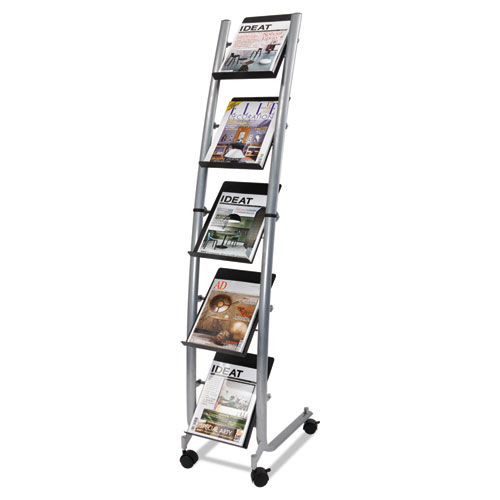 Alba™ Mobile Literature Display, 13.38w x 20.13d x 65.38h, Silver Gray/Black