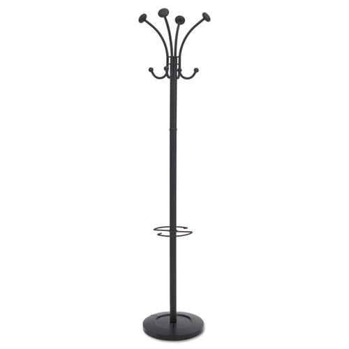 Viena Coat Stand, Eight Knobs, Steel, 16w x 16d x 70.5h, Black