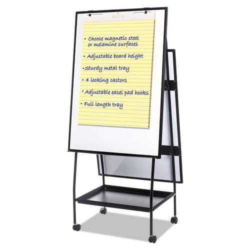 Creation Station Dry Erase Board, 29 1/2 x 74 7/8, Black Frame   by Plexsupply
