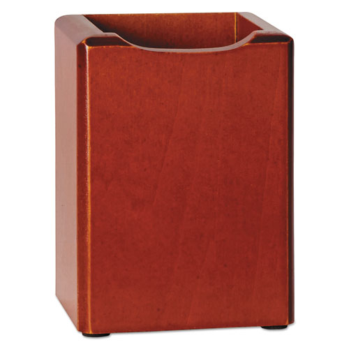 Rolodex Wood Tones Pencil Cup Mahogany 3 1 8 X 3 1 8 X 4
