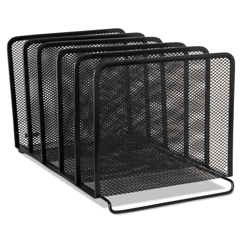 """Mesh Stacking Sorter, 5 Sections, Letter to Legal Size Files, 8.25"""" x 14.38"""" x 7.88"""", Black 