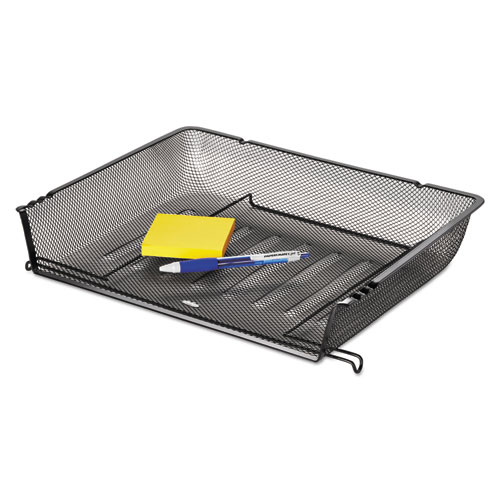 Nestable Mesh Stacking Side Load Letter Tray Wire Black