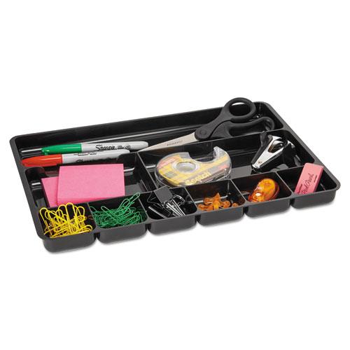 Regeneration Nine-Section Drawer Organizer, Plastic, Black