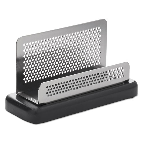 Distinctions Business Card Holder, Capacity 50 2 1/4 x 4 Cards, Metal/Black | by Plexsupply