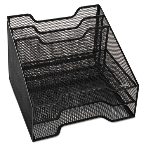 """Mesh Tray Sorter Combo, 5 Sections, Letter Size Files, 12.5"""" x 11.5"""" x 9.5"""", Black 