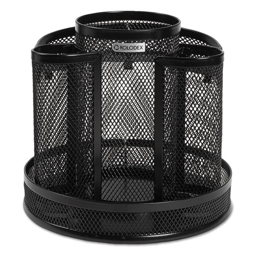 Wire Mesh Spinning Desk Sorter, Black | by Plexsupply