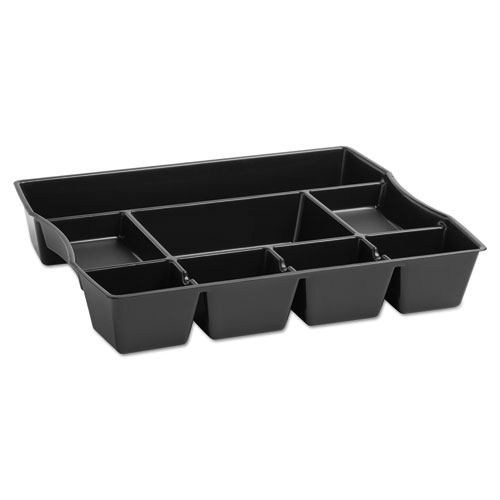 Nine-Compartment Deep Drawer Organizer, Plastic, 14 7/8 x 11 7/8 x 2 1/2, Black