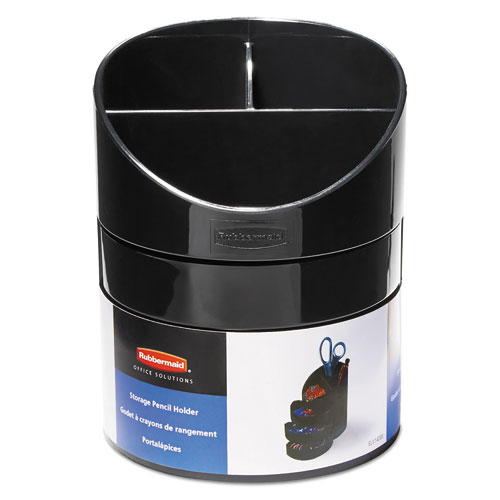 Small Storage Divided Pencil Cup, Plastic, 4 1/2 dia. x 5 11/16, Black