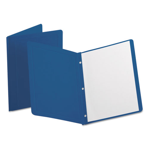 Report Cover, 3 Fasteners, Panel and Border Cover, Dark Blue, 25/Box | by Plexsupply