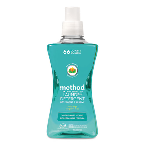 Method® 4X Concentrated Laundry Detergent, Beach Sage, 53.5 oz Bottle, 4/Carton