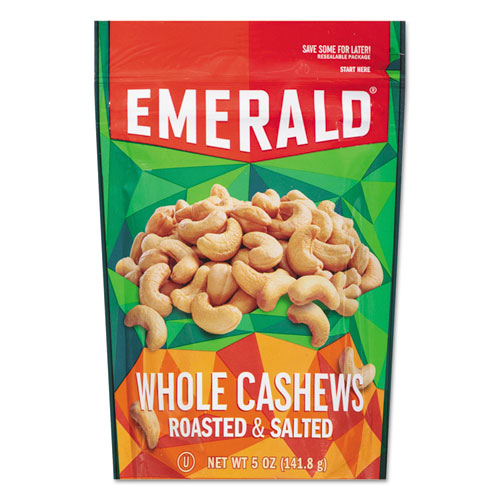 Roasted and Salted Cashew Nuts, 5 oz Pack, 6/Carton