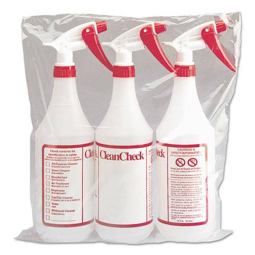 Boardwalk® Trigger Spray Bottle, 32 oz, Clear/Red, HDPE, 3/Pack