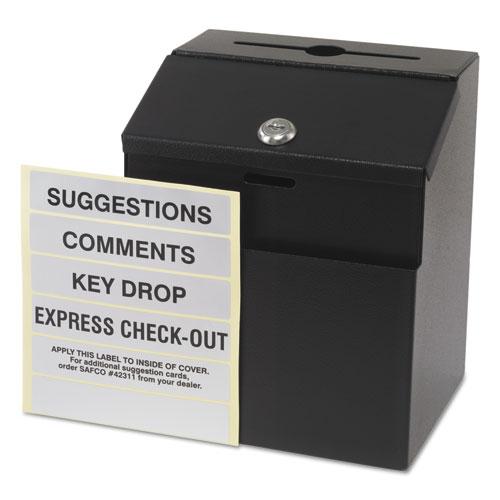 Steel Suggestion/Key Drop Box with Locking Top, 7 x 6 x 8 1/2