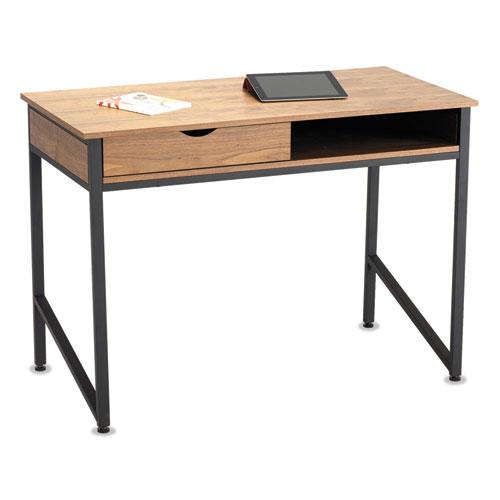 Safco® Single Drawer Office Desk, 43 1/4 x 21 5/8 x 30 3/4, Natural/Black