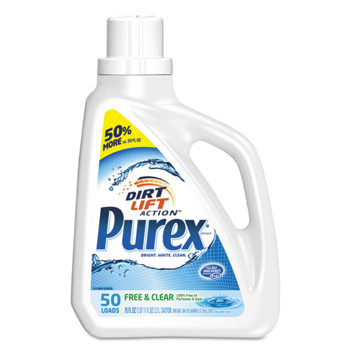 Purex® Free and Clear Liquid Laundry Detergent, Unscented, 150 oz Bottle, 4/Carton