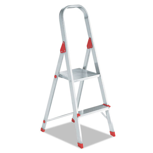 Aluminum Euro Platform Ladder, 6 ft Working Height, 200 lbs Capacity, 2 Step, Aluminum/Red
