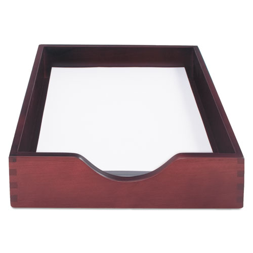 Hardwood Stackable Desk Trays, 1 Section, Letter Size Files, 10.25 x 12.5 x 2.5, Mahogany