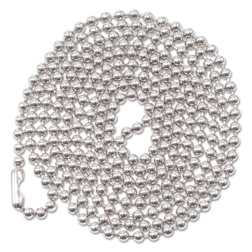 ID Badge Holder Chain, Ball Chain Style, 36 Long, Nickel Plated, 100/Box