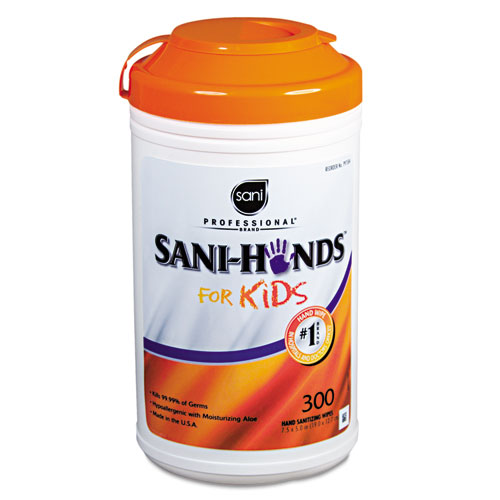 Sani Professional® Hands Instant Sanitizing Wipes for Kids, 5 x 7 1/2, White, 300/Pk, 6 Pks/Ct