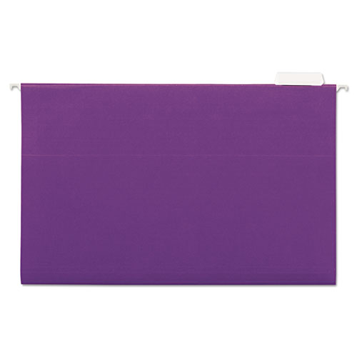 Hanging File Folders, 1/5 Tab, 11 Point Stock, Legal, Violet, 25/Box
