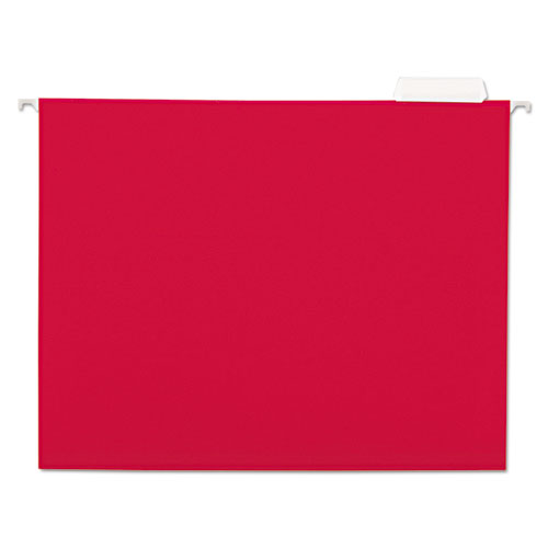 Deluxe Bright Color Hanging File Folders, Letter Size, 1/5-Cut Tab, Red, 25/Box