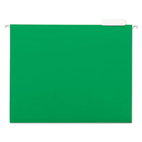 Deluxe Bright Color Hanging File Folders, Letter Size, 1/5-Cut Tab, Bright Green, 25/Box