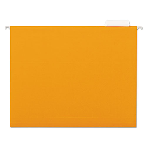 Deluxe Bright Color Hanging File Folders, Letter Size, 1/5-Cut Tab, Orange, 25/Box