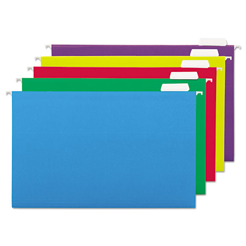 Deluxe Bright Color Hanging File Folders, Legal Size, 1/5-Cut Tab, Assorted, 25/Box