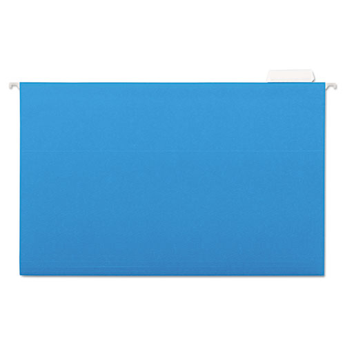 Hanging File Folders, 1/5 Tab, 11 Point Stock, Legal, Blue, 25/Box