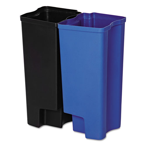 Rubbermaid® Commercial Step-On Rigid Dual Liner for Stainless End Step, Plastic, 8 gal, Black/Blue