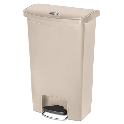 Rubbermaid® Commercial Slim Jim Resin Step-On Container, Front Step Style, 13 gal, Beige
