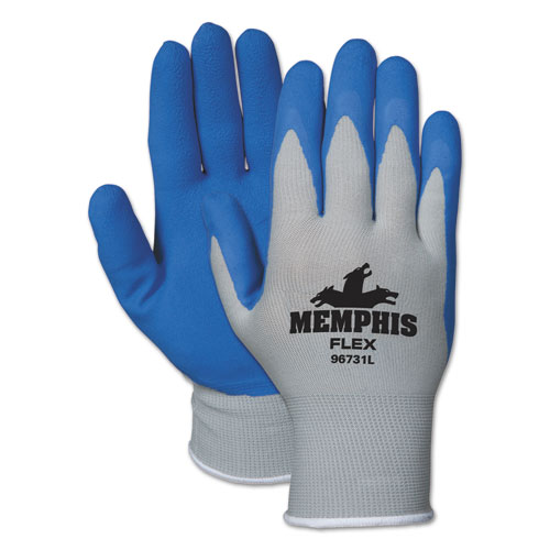 Memphis Flex Seamless Nylon Knit Gloves, Large, Blue/Gray, Dozen | by Plexsupply