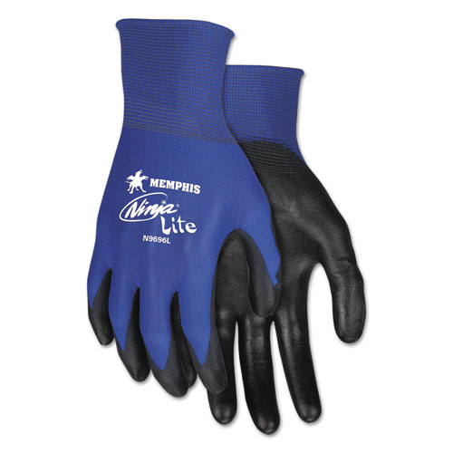 Ultra Tech Tactile Dexterity Work Gloves, Blue/Black, Large, 1 Dozen | by Plexsupply