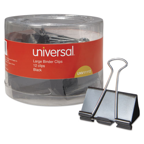 "Universal 1001201 Large Binder Clips, 1"" Capacity, 2"" Wide"
