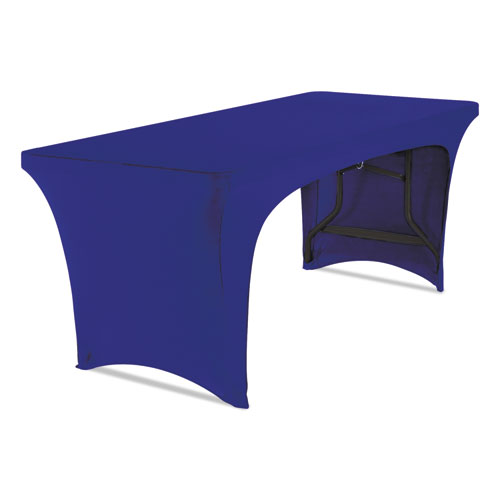 Stretch-Fabric Table Cover, Polyester/Spandex, 30 x 72, Blue