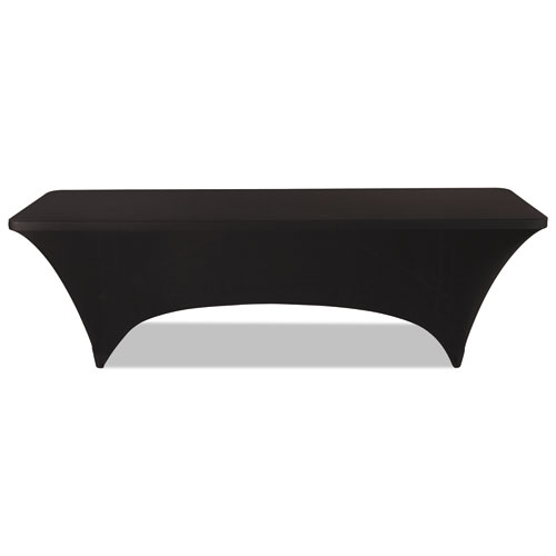 "Stretch-Fabric Table Cover, Polyester/Spandex, 30"" x 96"", Black 