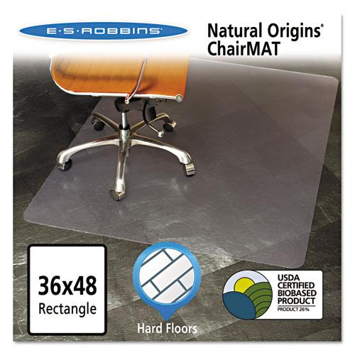 ES Robbins® Natural Origins Chair Mat For Hard Floors, 36 x 48, Clear